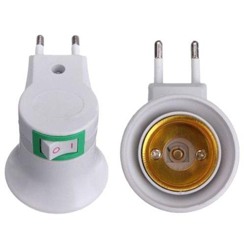 Bayda - Adaptador convertidor de bombilla para portalámparas E27 LED macho a enchufe UE tipo enchufe