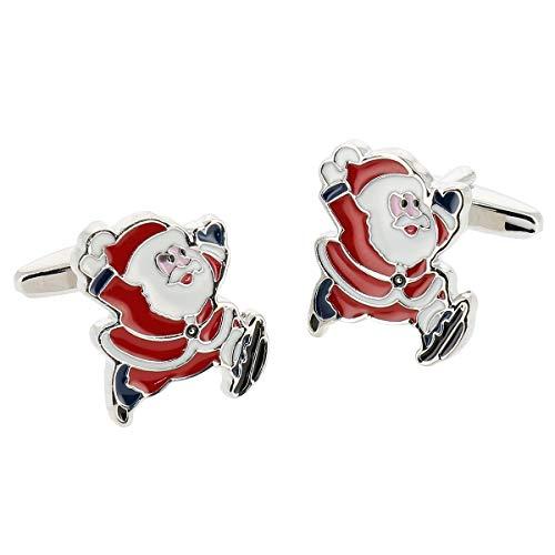 SHIPITNOW Weihnachten Manschettenknöpfe - Rot und Weiß Weihnachtsmann Manschettenknopf - Herren Heiligabend Manschettenknöpfe - Paarweise verkauft