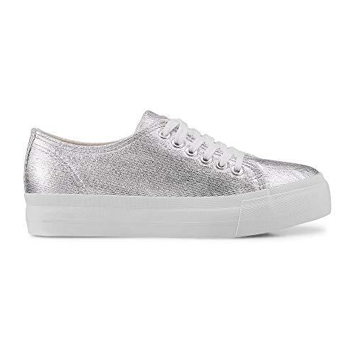Another A Damen Canvas-Sneaker aus Textil, Schnürschuhe in Silber mit breiter Plateausohle Silber Textil 40