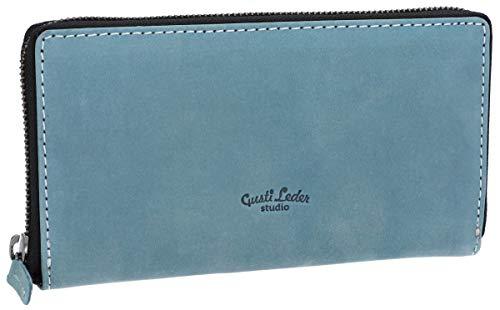 Gusti Gusti Geldbörse Leder - Cara Portemonnaie Brieftasche Geldbeutel Damen Blau Leder