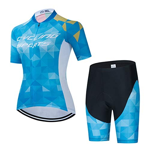 Women's Cycling Quick Dry Short Sleeve Breathable Jersey Set 3D Padded Bike Shorts Bike Shirt Bicycle MTB Tights Clothing Sportswear Set for Race Bike Bicycle Team QXF-5,A2,XXL