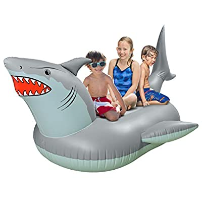 GoFloats 'Great White Bite' Shark Party Tube Inflatable Raft   Fun Pool Float for Adults and Kids