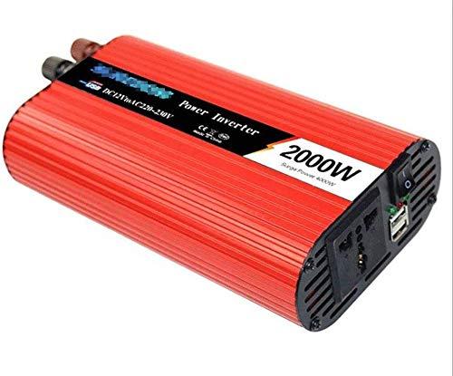 Inversor de potencia de onda sinusoidal pura 2000W / 4000W DC 12V 24V a 110V 220V Convertidor de cargador de coche AC con zócalo universal y 2 puertos USB Adaptador automático fuente de alimentación p