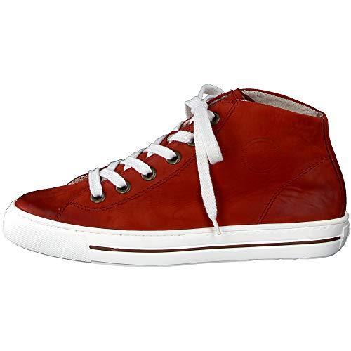 Paul Green Damen Super Soft Hightop-Sneaker, Frauen sportlicher Schnürer, weiblich Ladies feminin elegant Women\'s Women Woman,Rot,6 UK / 39 EU
