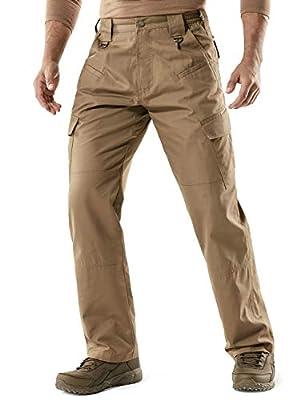 CQR Men's Tactical Pants, Water Repellent Ripstop Cargo Pants, Lightweight EDC Hiking Work Pants, Outdoor Apparel, Duratex(tlp106) - Coyote, 44W x 30L