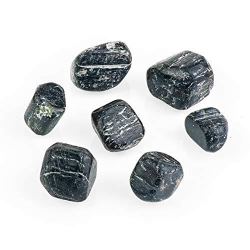Schwarzer Turmalin Trommelsteine | Original Heilkristall-Steine | Natürliche und authentische Schwarzer Turmalin Steine aus Brasilien | Set von 7