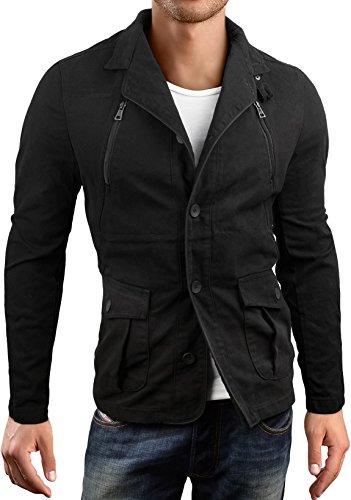 Grin&Bear Slim fit Kurzmantel Field Jacket Feldjacke Jacke, schwarz, XL, AK15