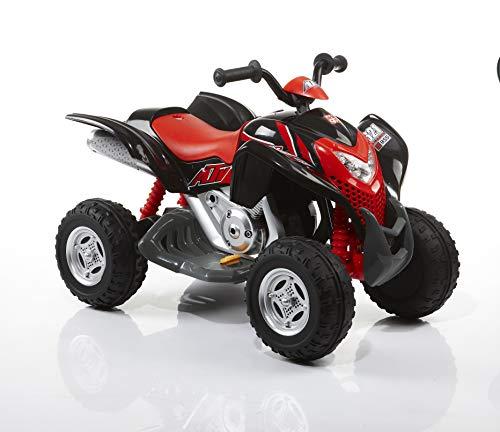 Rollplay Quad elettrico, Per bambini da 3 anni in su, Fino a max. 35 kg, Batteria da 6 Volt, Fino a 4 km/h, Powersport ATV, Rosso, nero