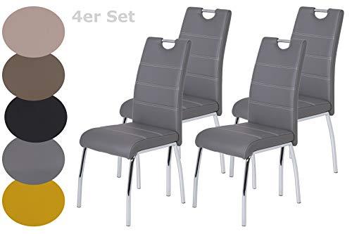 4er Set Esszimmerstuhl Susi, Bezug Kunstleder Grau, Griffmulde, Metallgestell Chrom, 43 x 61 x 98 cm