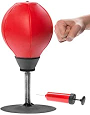 VINGTOS SALES Desktop Punching Speed Ball Stress Buster Ball Adults Stress Ball, Reflex Strain and Tension Ball for Hand Exercise Home Workout Exercises with Air Pump- Red