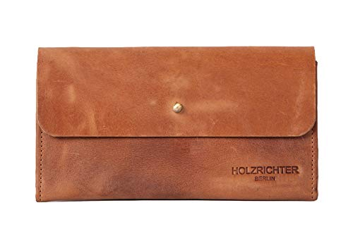 HOLZRICHTER Berlin Geldbörse aus Leder. Handgefertigtes Damen Portemonnaie in braun