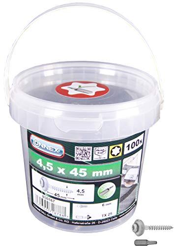 Connex Spenglerschrauben 4,5 x 45 mm - 100 Stück - TX Torx-Antrieb - Mit Dichtscheibe - Korrosions- & witterungsbeständig - Inkl. Bit / Fassaden-Schrauben / Dachschrauben / Schrauben-Eimer / B30167