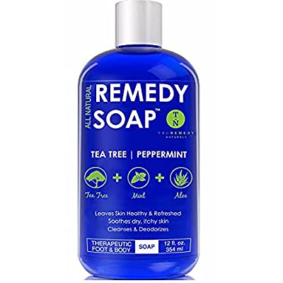 Remedy Soap Tea Tree Oil Body Wash, Helps Body Odor, Athlete's Foot, Jock Itch, Ringworm, Yeast Infections, Skin Irritations, Shower Gel for Women/Men, Natural Mint & Aloe Skin Cleanser 12 Oz from Mountainbreeze Naturals