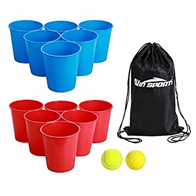 Win SPORTS Bucket Pong Game,Giant Yard Pong-Beer Pong Set for Beach Edition-Drinking Games Includes 12 Buckets,2 Balls,Carry Bag- Cup and Pong Throwing Game for Adults,Teens,Family,Outdoor Indoor from WIN SPORTS
