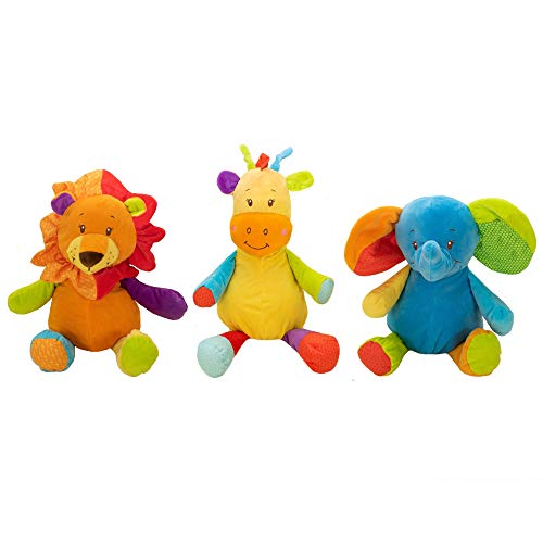 """Gitzy 18"""""""" Plush Circus Rattle and Crinkle Animals, Stuffed Lion and Giraffe Rattle, CRINKLY Eared Elephant (Set of Three)"""