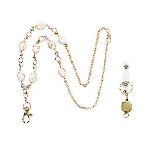 Haomacro Badge Lanyards ID Necklaces Badge Holder for Women,Multifunctional Fashion Lanyard Necklace Composed of Stainless Steel and Natural Stone Glass Beads Necklace Lanyard Badge Holder