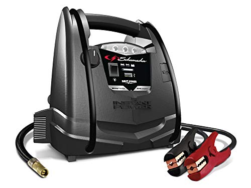 Schumacher Rechargeable AGM Jump Starter for Gas, Diesel Vehicles – 1000 Amps with Air Compressor and 12V DC, USB Power Station