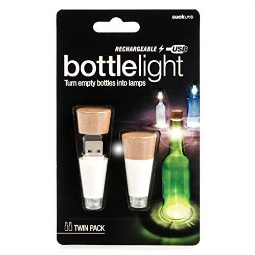 Suck UK Official Rechargeable USB LED Bottle Light / Aufladbares USB LED Flaschen-Licht – wiederverwendbare / Dekoration für Heim und Garten - Doppelpack