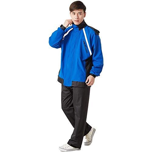 Veste à Capuche Pliable Imperméable imperméable Costume Manteau de Pluie extérieur Hommes Femmes Poncho de Pluie-Bleu et Noir_XXL