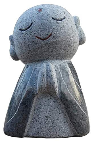 Escultura de escritorio Jizo monje estatua, japonés jizo monje mini estatua sonrisa escultura jizo jardín artesanía modelo figurilla mesa decoración