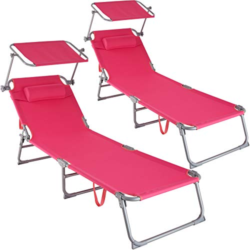TecTake 800773 Set 2X Tumbona de Playa con Parasol, Respaldo Ajustable 4 Posiciones, Reposacabezas Extraíble, Exterior Piscina Terraza Jardín (Rosa | No. 403420)