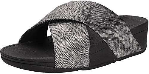 Fitflop Lulu Cross Slide Sandals-Shimmer-Print, Bout Ouvert, Imprimé Noir Brillant, 36 EU