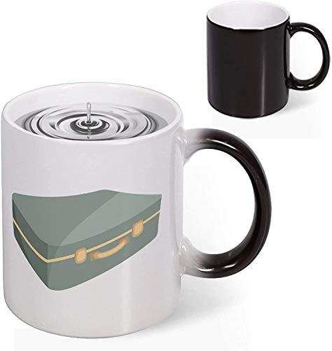 Heat Reveal Ceramic Taza de café de 11 oz Maleta con símbolo Logotipo que cambia de color Taza de novedad Taza de decoloración creativa Taza de arte divertido Navidad