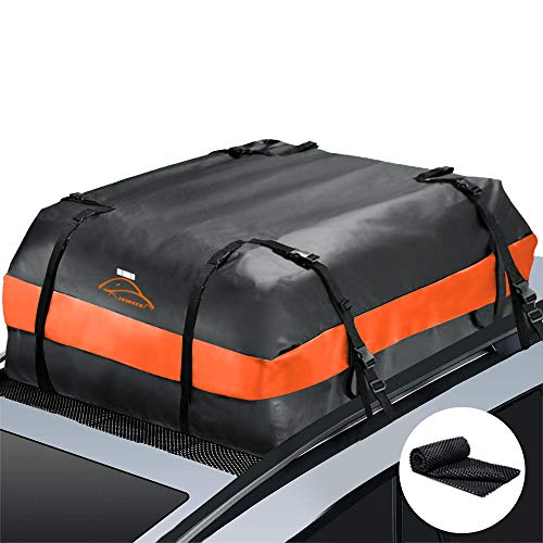 Car Top Bag,Auto Cargo Carriers Roofbag Vehicle Truck Automotive Rooftop Luggage Storage Bag with/without Rack,Waterproof Automobile Soft Roofbag for SUV Jeep Subaru Toyota Universal (black-orange)