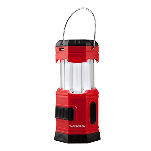 TANSOREN Portable LED Camping Lantern Solar USB Rechargeable or 3 AA Power Supply, Built-in Power Bank Compati Android Charge, Waterproof Collapsible Emergency LED Light with S' Hook