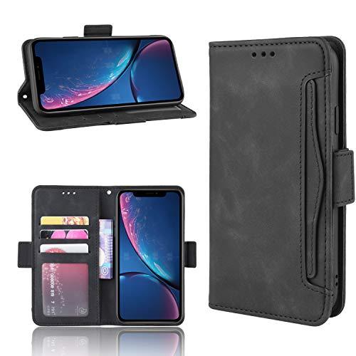 Snow Color iPhone XR Hülle, Premium Leder Tasche Flip Wallet Case [Standfunktion] [Kartenfächern] PU-Leder Schutzhülle Brieftasche Handyhülle für Apple iPhone XR - COBYU020069 Schwarz
