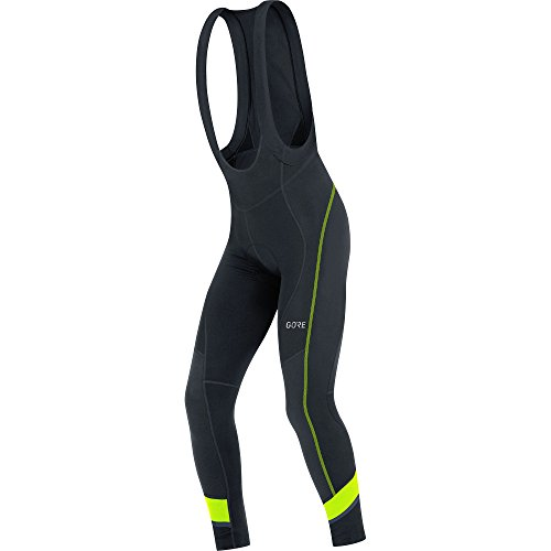 GORE WEAR Men's Breathable, Long Cycling bib Tights, with seat Insert, C5 Thermo Bib Tights+, L, Black/Neon-Yellow, 100365