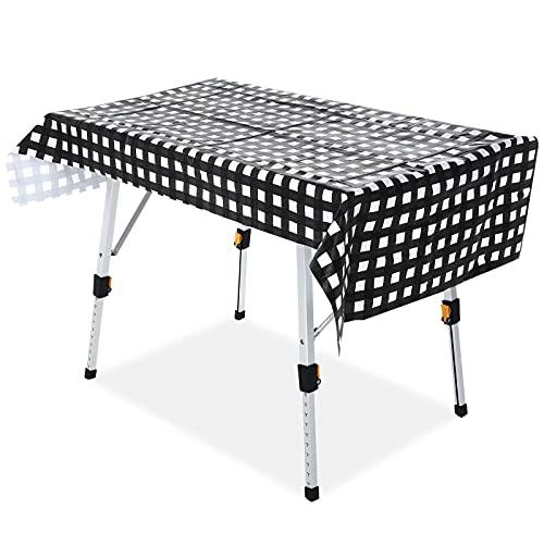 Mesa Plegable para Acampar Mesa de Picnic de Aluminio con Mantel Ajustable...