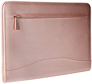 Professional PU Leather Padfolios Business Portfolio Document Organizer & Holder Padfolio Case for Notepads,Pens,Phone,Documents,Business Cards Blush (Metallic Pink, A4 Large)