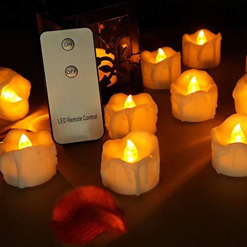 SYQS LED Candela Elettronica di Controllo a Distanza, Luce di Candele Decorazione di tè di Natale, Le Lacrime Le luci di Simulazione Atmosfera di Festa 24 Packs