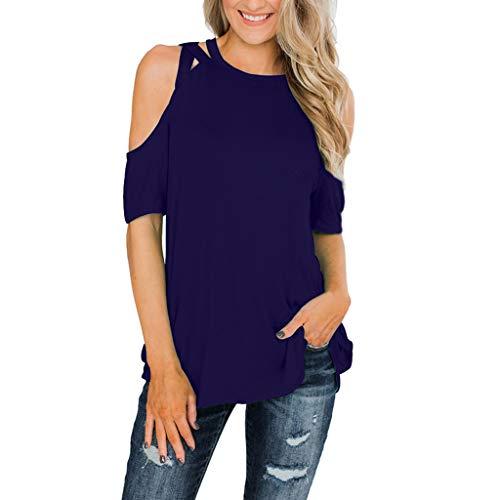 FRAUIT Damen Chiffon Bluse Schulterfrei Einfarbiges T-Shirt Carmenbluse Cut Out Shirt Loose Fit Freizeitoberteil Elegant Spitze Oberteil