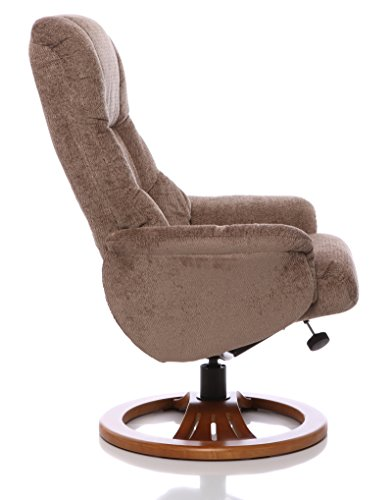 Oriental Leather Co Ltd The Mandalay Swivel Recliner Chair In Mink Fabric & Cherry, Matching Footstool