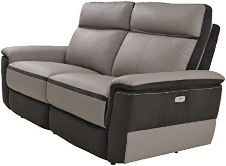 Best Homelegance Laertes Two-Tone Double Power Reclining Loveseat Top Grain Leather Fabric Match, Light G