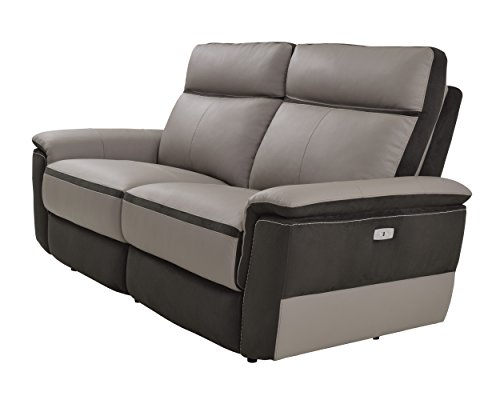 Homelegance Laertes Two-Tone Double Power Reclining Loveseat Top Grain Leather Fabric Match, Light Grey