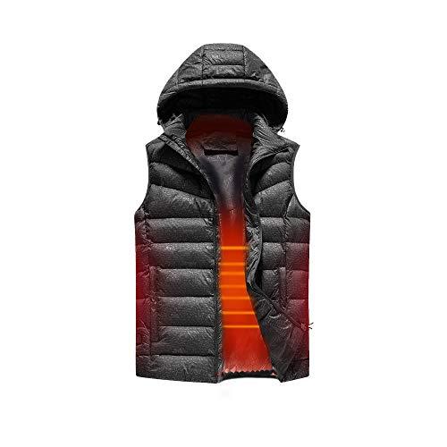 Gilet Chauffant Isolé Capuche Amovible Chauffage USB Manteau de Veste Chaude Extérieure pour La Pêche au Ski