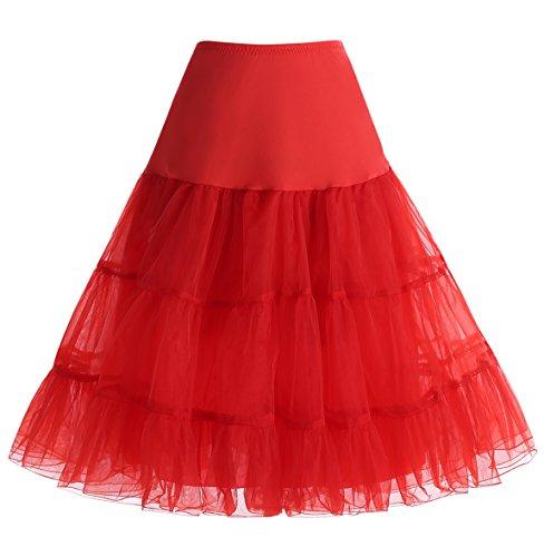 Homrain Mujeres 50s Vintage Tutu Cancan Enagua Rockabilly Mini Red S