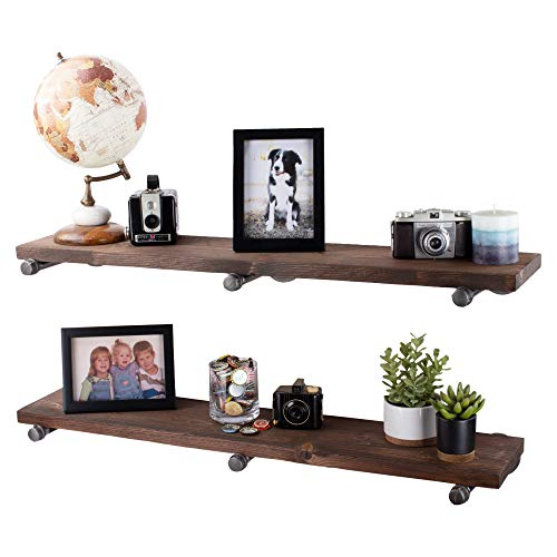 MyGift Rustic Torched Wood Wall-Mounted Storage Display Shelves with Wooden Brackets, Set of 2