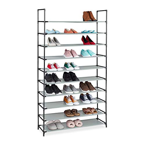 Relaxdays Zapatero XXL, 10 Niveles, para 50 Pares de Zapatos, plástico, 5 x 99 x 29,5 cm, Color Gris, 176,5x99x29,5 cm