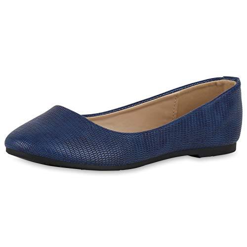 SCARPE VITA Damen Klassische Ballerinas Prints Leder-Optik Slip On Schuhe Slipper Freizeitschuhe Flats Schlupfschuhe 191475 Marineblau Snake 37