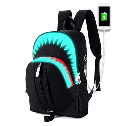 MeskyEU – Mochila fluorescente impermeable en forma de tiburón Oxford en color negro para adultos o adolescentes