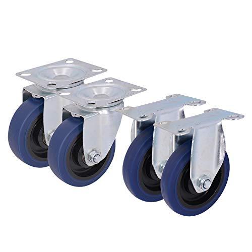 LZPQ Ruedas giratorias de Carro de 100 mm, Ruedas de Banco de Trabajo Azules para barbacoas, Ruedas giratorias de Goma Resistentes