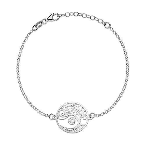 Aka Gioielli - Pulsera Árbol de la Vida en Plata de Ley 925 Rodio y Cristal Swarovski para Mujer