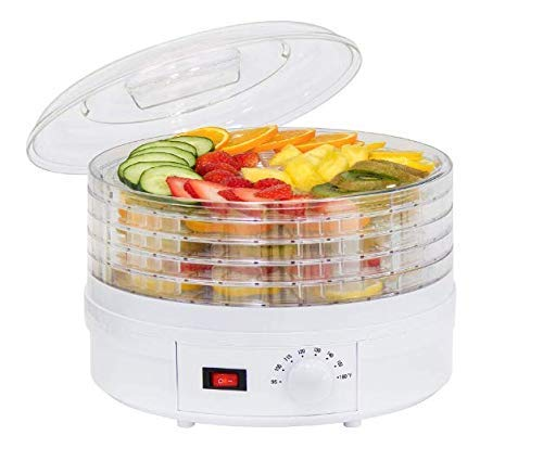 SHREE HANS CREATION Electric Digital Food Dehydrator Machine for Jerky, Fruit, Vegetables and Nuts, Vegetable Dryer and Temperature Control with 5 Trays (White-Transparent)