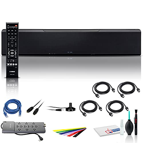 Yamaha MusicCast YSP-5600 128W 7.1.2-Channel Soundbar (Black) (YSP-5600BL) + Surge Protector + Optical Audio Cable + Cable Ties + Ethernet Cable + 4 x HDMI Cable + Cleaning Kit