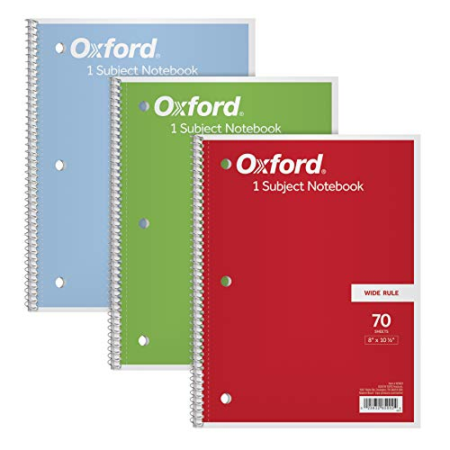 TOPS/Oxford 1-Subject Notebooks, 8' x 10-1/2', Wide Rule, 70 Sheets, 3 Pack, Color Assortment May Vary (65029)