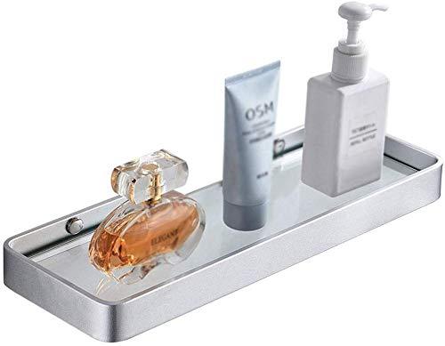 ZFFSC Lotion & zeepdispenser badkamer plank badkamer plank commode warm wandbehang glas opslag Rack Loading 8kg (kleur: zilver, grootte: 35 * 12 * 3cm) 35 * 12 * 3cm zilver